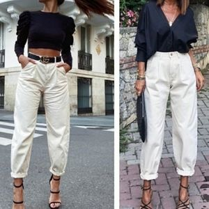 ZARA cream slouchy mom look jeans bloggers fave